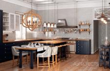 Кухня студия в загородном котедже