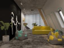 Интерьер зоны отдыха для работников IT компании