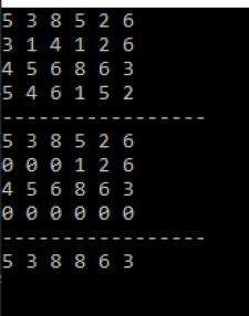 Выполнение алгоритма поиска по перебору в матрице
