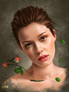 Цифровой портрет по фото, портрет в photoshop