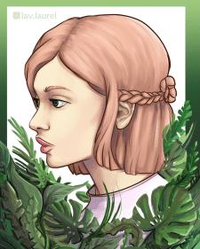 Портрет стилизованный с доп. элементами (растения)