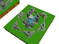 Модель замка Low Poly для игры Разрушенный