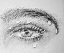 Глаз мокрый, карандаш.