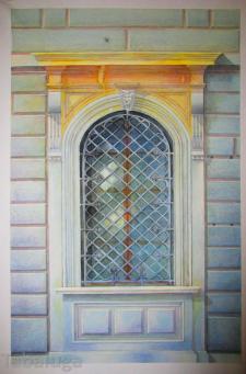 Окно, акварельная отмывка