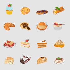 десерты сет, векторная флэт иллюстрация