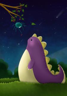 Дико, динозаврик, динозавр, фиолетовый, дружба