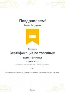 Сертификат Google Ads по торговым кампаниям