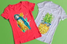 Акварельный принт для футболки