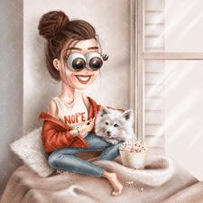 Портрет девушки с собакой