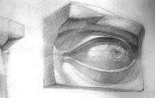 Рисунок гипсового глаза