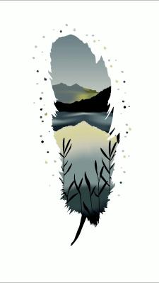 Принт, перо, горы