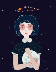 girl with moon