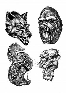 Дизайн эскиза татуировки ( Тотемные животные)