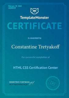 Have TemplateMonster Certificate
