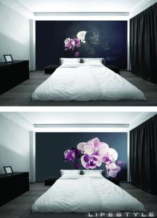 Дизайн спальні з художнім розписом стіни