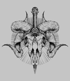 Дизайн эскиза татуировки ( Рогатый череп козла)