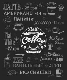Баннер - прайс для кофейни