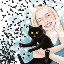 Хозяйка и ее кот, который обожает семечки