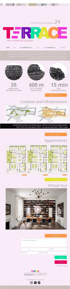 Lending page for residential complex in Vienna