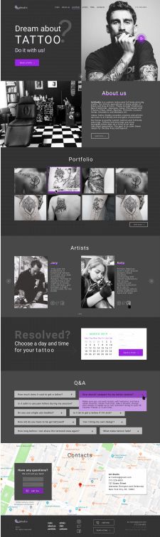 Landing page for art studio tattoo