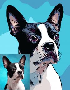 Портрет собаки по фото в мультяшном стиле