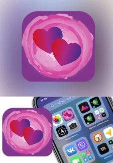 Иконка App Store. Тематика эротика, любовь.