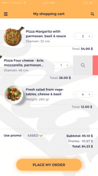 Products in cart