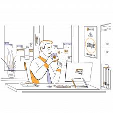 """Концепт на тему: """"Офисный работник, пьющий кофе"""""""