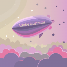Иллюстрация Розовые облака