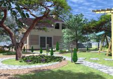 Фасады дома+ландшафтный дизайн